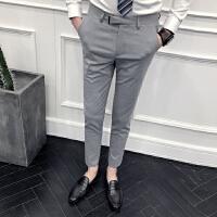 气质男裤子2018春夏男士休闲裤子发型师夜店小脚裤男修身款西裤潮