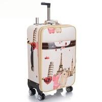 拉杆箱万向轮行李箱男女PU卡通旅行箱防水登机箱密码箱20/24英寸 米白色 20英寸可拓展