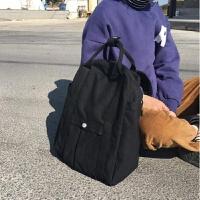 韩版秋冬百搭学院风学生书包纯色手提大容量帆布包旅行背包 黑色