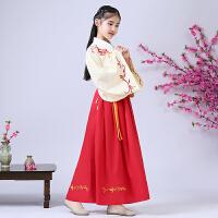 儿童汉服国学童装女复古中国风袄裙表演服装秋儿童古装汉服小萝莉