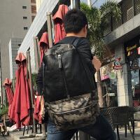 潮流旅行背包迷彩大容量户外运动行李包时尚双肩电脑包包 黑色