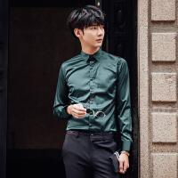 气质男人春秋发型师男士韩版修身墨绿色时尚长袖衬衫绸缎质感衬衫