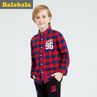 巴拉巴拉男童长袖衬衫中大童上衣冬装童装儿童格子衬衣