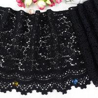 黑色蕾丝花边辅料DIY服饰配件裙摆水溶刺绣加厚牛奶丝面布料