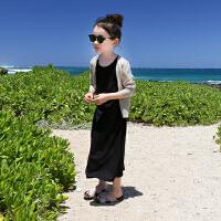 女童冰丝棉针织衫超薄透气中大童夏季防晒衫儿童防晒衣亲子母女装