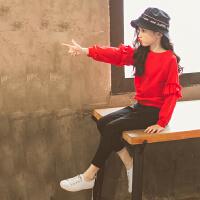 女童洋气运动套装春装2018新款韩版时尚休闲花边卫衣中大童两件套