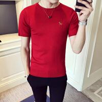 夏季青年社会小伙中袖针织衫男士修身弹力短袖T恤刺绣韩版硬汉装
