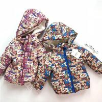 201805092220374102017冬新款男女宝宝加绒外套 满印面包加绒外套冬季儿童外套