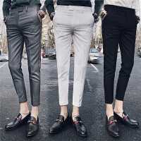春夏新款纯色九分裤男青年时尚英伦潮流发型师小脚裤男士休闲西裤