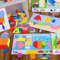 创意七巧板拼图儿童益智玩具4-6岁女智力女孩3岁小学生木质磁力幼