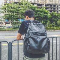 双肩包男皮包PU电脑旅行包韩国时尚潮流学生书包原宿 黑色