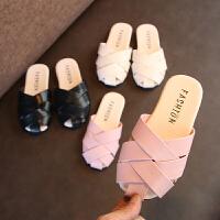 夏季儿童拖鞋平底鞋编织中小童男女童包头凉拖鞋