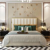 后现代简约轻奢美式主卧1.8米m港式样板间双人储物婚床 +床头柜*2+乳胶床垫 1800mm*2000mm 箱框结构