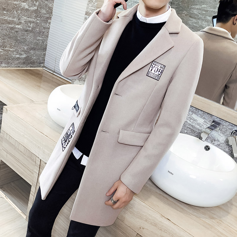 新款秋冬季男外套男士修身中长款风衣男式韩版上衣毛呢