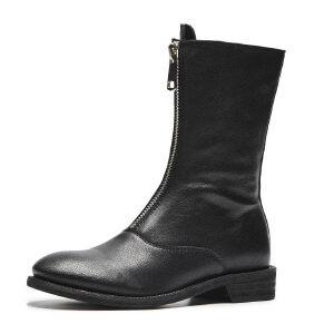 ELEISE美国艾蕾莎新品秋冬191-1987韩版羊皮平跟女士马丁靴短靴