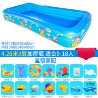 充气游泳池 儿童超大号水上乐园宝宝游泳池家用婴儿充气加厚家庭小孩水池 CX