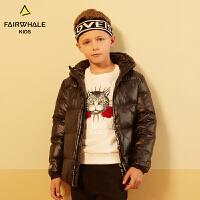 马克华菲童装冬季新款男童羽绒服儿童连帽羽绒服加厚中大童短