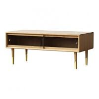 北欧茶几简约客厅日式风格小户型原木橡木设计师家具玻璃实木茶桌 原木色 1.1M 组装
