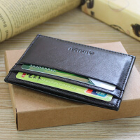 薄款头层羊皮多功能卡片包女士皮卡包零钱包男式银行卡钱夹卡夹 黑色