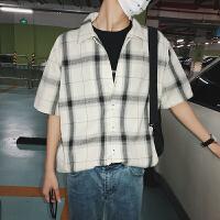 夏季男装潮流短袖格子衬衫男士港风小清新衬衣韩版宽松休闲上衣服
