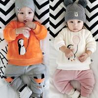婴儿加绒上衣冬季宝宝上衣外套新生满月周岁外出服双层加厚01岁潮