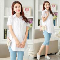 孕妇夏装白衬衣新款短袖上衣白色衬衫时尚潮妈夏季上班职业工作服