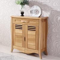 北欧实木客厅家具 现代中式俄罗斯纯榆木实木鞋柜
