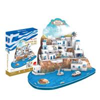 圣托里尼爱琴海模型拼装玩具3D纸模DIY建筑创意立体拼图