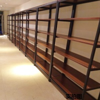 美式书架实木展示架落地客厅隔断卧室层架置物柜loft工业风置物架 主图颜色 130*35*190