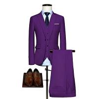 紫色西装三件套男士西服套装新郎伴郎结婚礼修身商务正装大码男装
