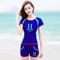 泳衣女分体平角裤保守遮肚显瘦运动款游泳衣大码学生女生泳装