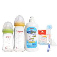 贝亲奶瓶 新生儿婴儿玻璃宽口奶瓶5件套装 宝宝  奶瓶清洁套装
