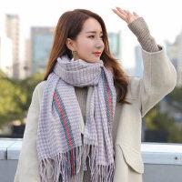 户外运动围巾女韩版百搭加厚针织仿羊绒围脖学生保暖格子毛线披肩长款