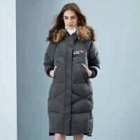 坦博尔羽绒服大毛领女中长款多功能两穿时尚韩版羽绒外套TB18770