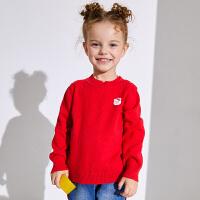 小猪班纳童装女宝宝毛衣小童套头衫儿童打底衫2019秋冬装新款毛衫