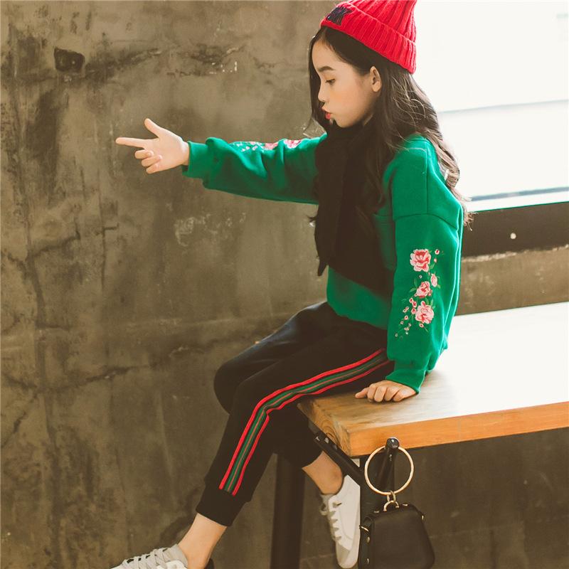 女童运动套装2018春款韩版时尚休闲民族风绣花卫衣两件套中大童装 发货周期:一般在付款后2-90天左右发货,具体发货时间请以与客服协商的时间为准