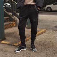 李宁卫裤男士2018新款运动时尚系列长裤裤子男装冬季休闲平口针织运动裤AKLN813