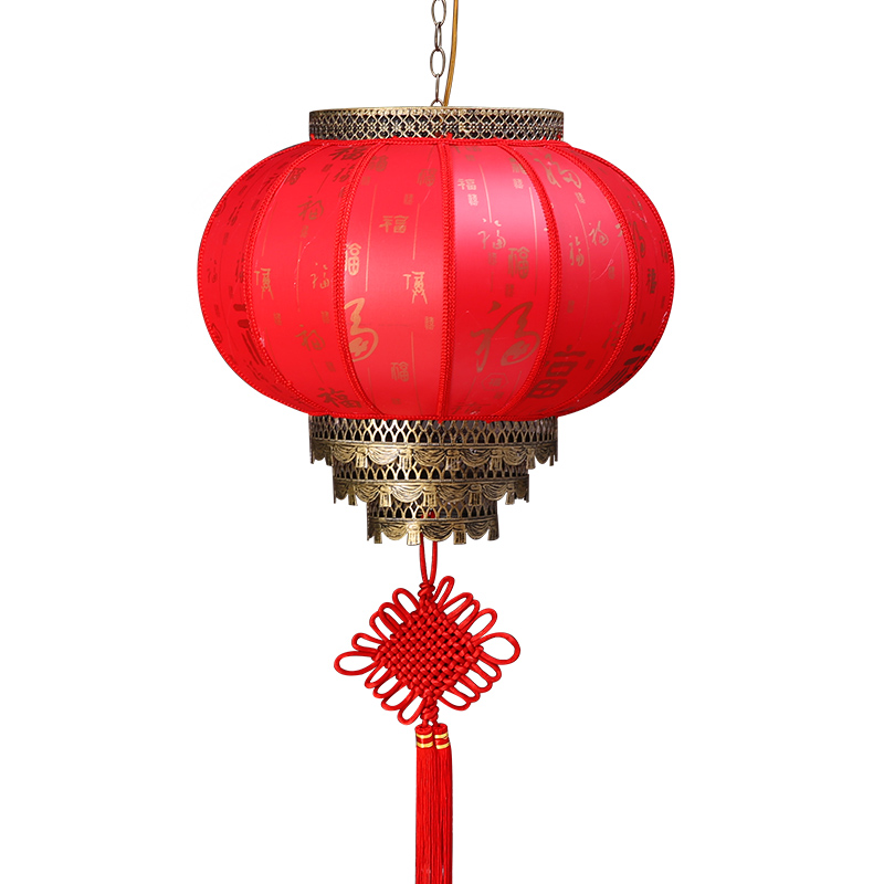 大红灯笼挂饰户外防水中式阳台灯笼乔迁结婚灯笼仿古旋转羊皮灯笼