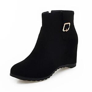 ELEISE美国艾蕾莎新品秋冬071-V21韩版磨砂绒面内增高女士女靴短靴