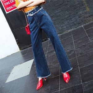 七格格bf风阔腿牛仔裤子女春秋2018新款韩版显瘦学生高腰宽松牛仔长裤女