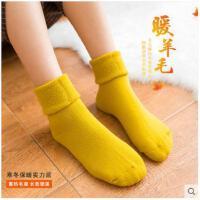 冬季加绒加厚羊毛袜女睡眠袜月子袜毛巾毛圈长袜保暖袜子中筒棉袜