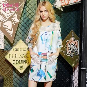 妖精的口袋醉意诺贝尔欧美拼接显瘦印花七分袖连衣裙女短裙