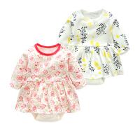 童宝宝婴儿3月0三角哈衣公主季连体衣外出衣服新年