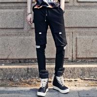 韩版个性多口袋反光布拼接夏季男士休闲裤潮流时尚青年修身小脚裤