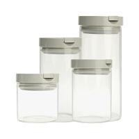 当当优品 高硼硅透明玻璃密封 杂粮食品防潮储物罐 灰盖
