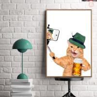 室内宠物用品店装饰画卧室房间墙面可爱猫咪挂画幼儿园楼梯走廊壁画 90*60单幅 33mm厚板(黑色框) 独立