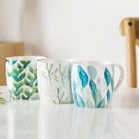北欧ins杯子陶瓷马克杯 带盖勺小清新陶瓷情侣咖啡牛奶早餐杯水杯