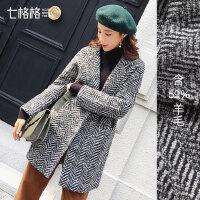 毛呢大衣反季中长款女2018秋冬装新款韩版宽松学生女士呢子外套