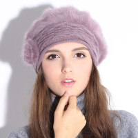 帽子女冬天保暖兔毛帽韩版潮保暖冬季时尚贝雷帽套头东北骑车帽女 均码