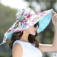 女大沿遮阳帽防晒帽防晒时尚可折叠帽子双面旅游度假沙滩帽
